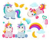 Unicorn. Cute magic animals happy birthday symbols little pony baby horse vector colored cartoon pictures. Illustration of unicorn baby, animal horse, pony dream