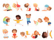 Yoga kids. Children making exercises in different poses healthy sport vector cartoon characters. Yoga exercise boy and girl pose illustration