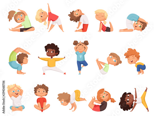 Yoga Kids Children Making Exercises In Different Poses Healthy Sport Vector Cartoon Characters Yoga Exercise Boy And Girl Pose Illustration Buy This Stock Vector And Explore Similar Vectors At Adobe Stock