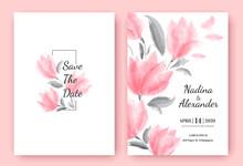 Floral Wedding Invitation Card Template Design, Beautiful Pink Flowers, Pastel Vintage Theme. Vector Illustration