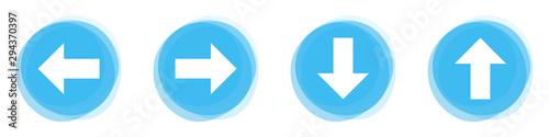 Obraz na plátně 4 Pfeil Icons auf hellblauen Buttons in alle Richtungen