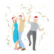 Happy people dancing celebrate christmas and new year