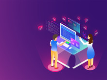 Miniature Developers Working On Desktop With Different Coding Language Signs On Glossy Purple Background For Web Development Concept.
