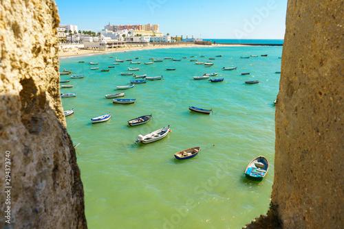 Cuadros en Lienzo La Caleta beach in Cadiz, Spain, Andalusia
