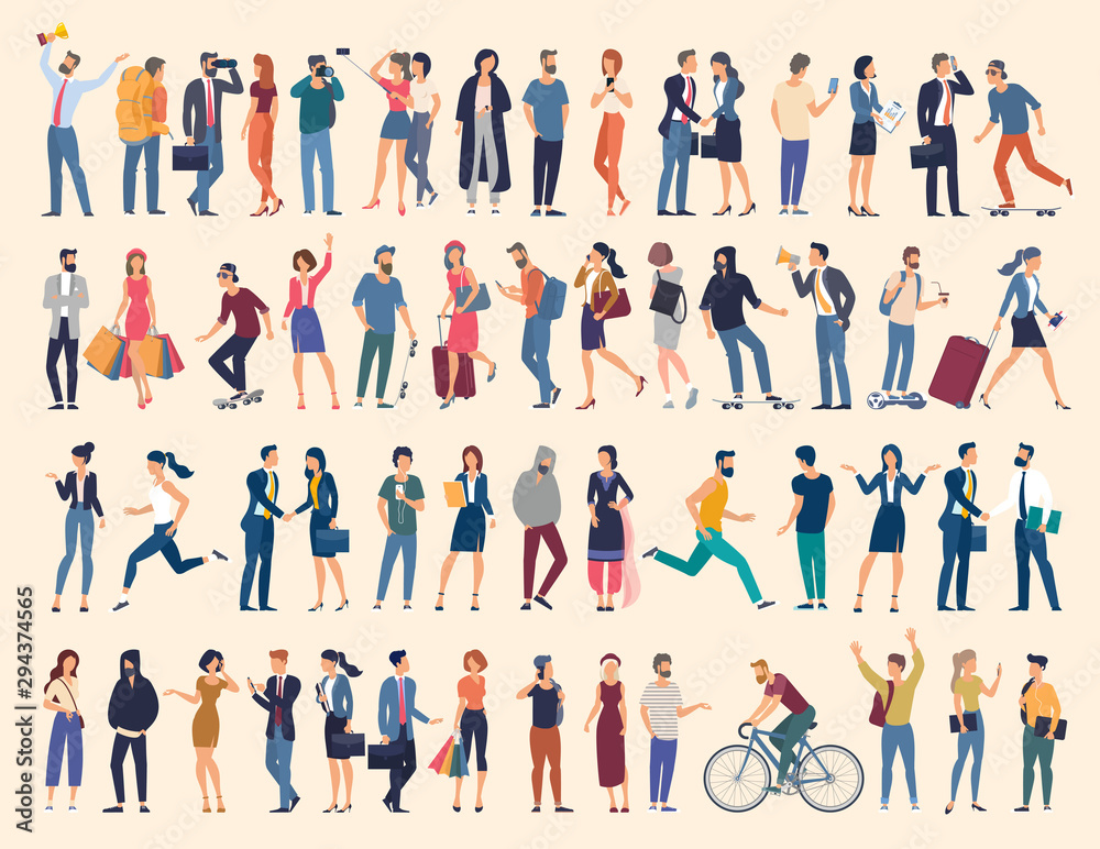 Fototapeta Set of vector ready to animation people characters performing various activities. Group of men and women flat design style cartoon characters isolated on white background.