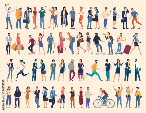 Fototapeta Set of vector ready to animation people characters performing various activities