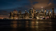 Skyline of downtown New York City at night