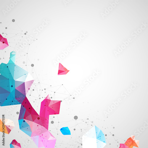 Fototapety, obrazy: Wireframe background with plexus effect. Futuristic vector illustration.