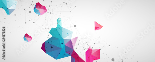 Obraz Wireframe background with plexus effect. Futuristic vector illustration. - fototapety do salonu
