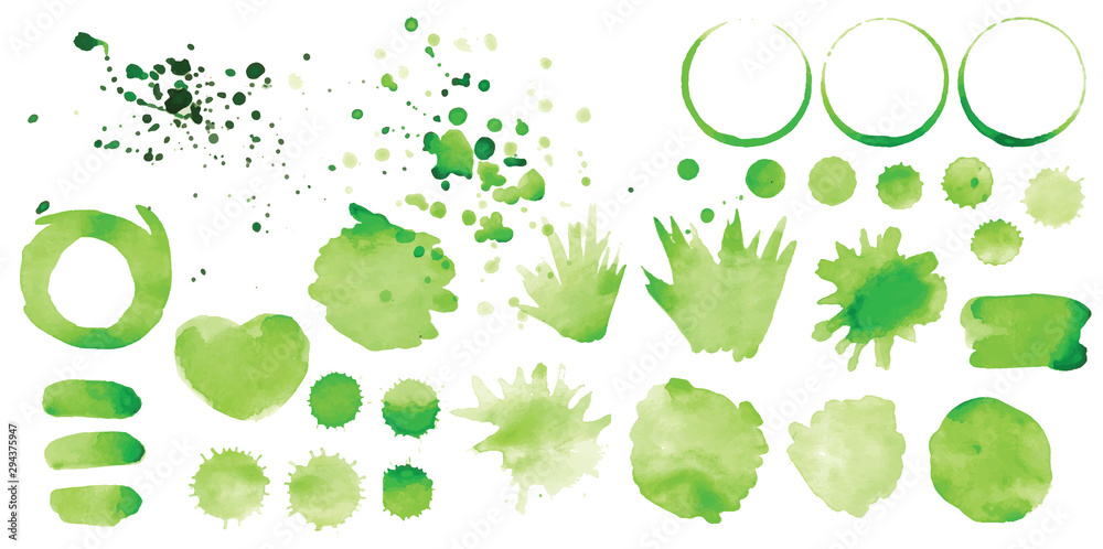 Fototapeta Set of vector green splashes on white background