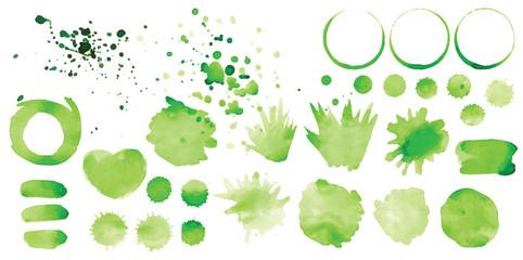 Set of vector green splashes on white background