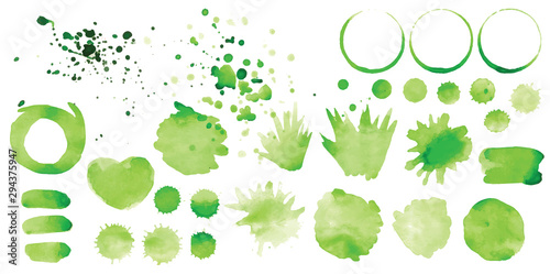 Set of vector green splashes on white background Wallpaper Mural