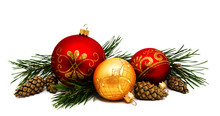 Christmas Decoration Golden Yellow And Red Balls With Fir Cones And Fir Tree Branches Isolated