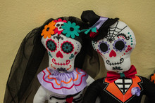 Dolls-a Pair Of Beautiful Skeletons In The Outfits Of The Newlyweds, A Dead Bride In A Black Veil. Decorations For Halloween Or Day Of The Dead In Mexico