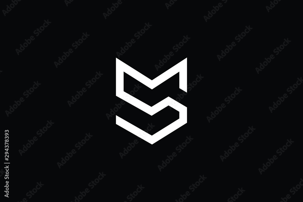 Fototapety, obrazy: Outstanding professional elegant trendy awesome artistic black and white color MS SM initial based Alphabet icon logo.