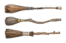 Set Of Three Wizard Brooms Iso...