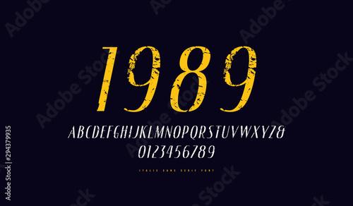 Fototapeta  Italic narrow sans serif font