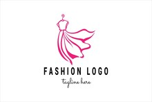 Fashion Logo Template With Pink Women's Dress