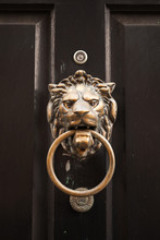 Old Classic Doorknob In Shape Of Lion Head