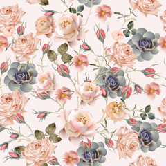 Fototapeta Romantyczny Beautiful floral vintage pattern with pastel pink and beige rose flowers
