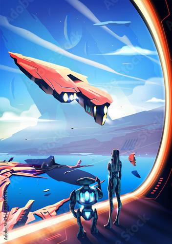 Fényképezés New Civilization in Vector Art