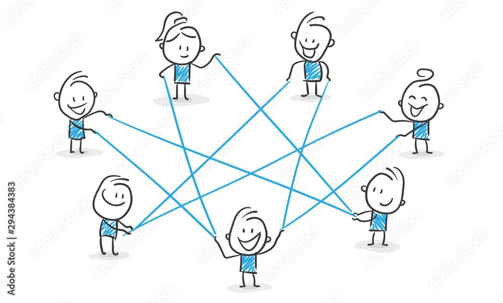 Fototapeta Stickman Blue: Network, Internet, Collaboration. (Nr. 115)