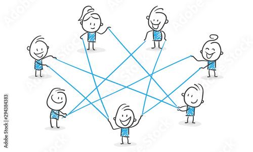 Stickman Blue: Network, Internet, Collaboration. (Nr. 115) Poster Mural XXL