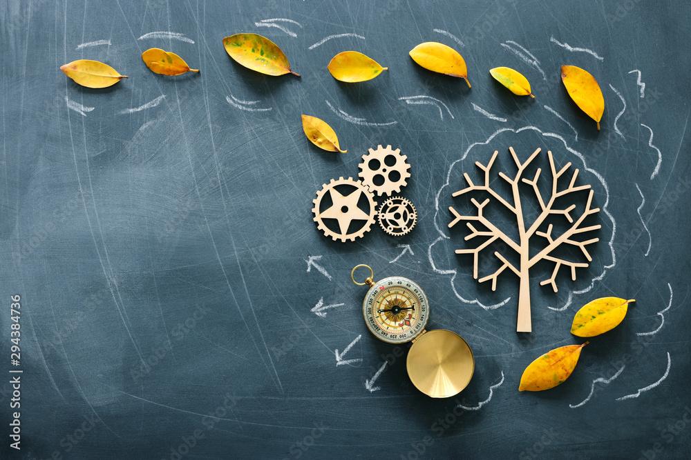 Edukacja wizerunek drzewo z ząb kołami. Pojęcie uczenia się i twórczego myślenia <span>plik: #294384736   autor: tomertu</span>