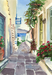 Panel Szklany Podświetlane Uliczki Watercolor picture of an old and picturesque greek street with sunlit houses and distant sea