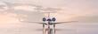 Leinwandbild Motiv Business class travel concept, luxury private jet at sunset or sunrise. 3D illustration.