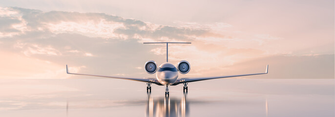 Business class travel concept, luxury private jet at sunset or sunrise. 3D illustration.