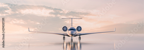 Vászonkép Business class travel concept, luxury private jet at sunset or sunrise