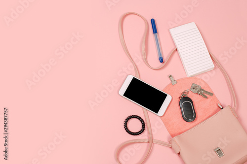 Fotomural  Fashion concept : Flat lay of brown leather woman bag open out with cosmetics, a