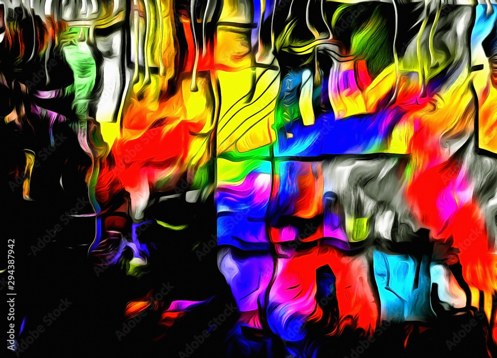 City colors. Abstract painting. 3D rendering
