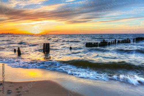 Poster Mer / Ocean Beautiful sunset ovet the Baltic sea of Gdansk, Poland