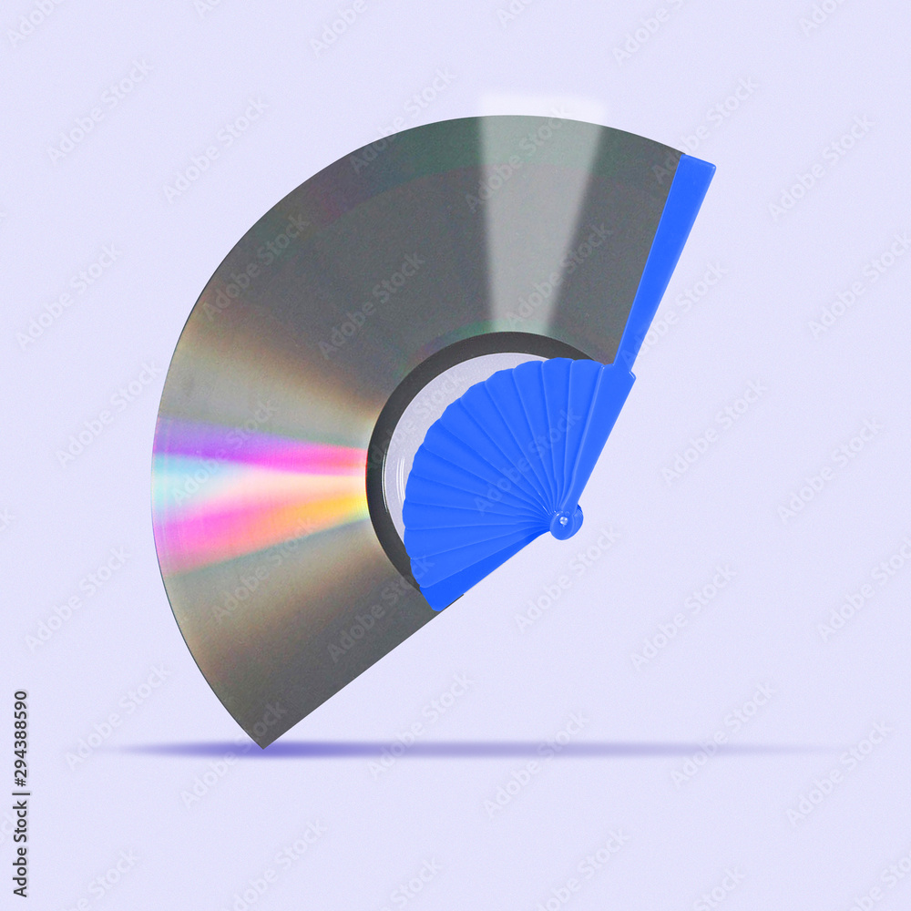 Fototapety, obrazy: Concept of alternative sound, new wind trends. A music disc as a hand fan on trendy purple background. Negative space to insert your text. Modern design. Contemporary colorful and bright art collage.