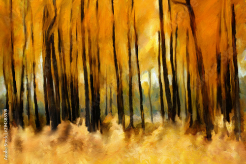 Cadres-photo bureau Miel autumn forest oil painting