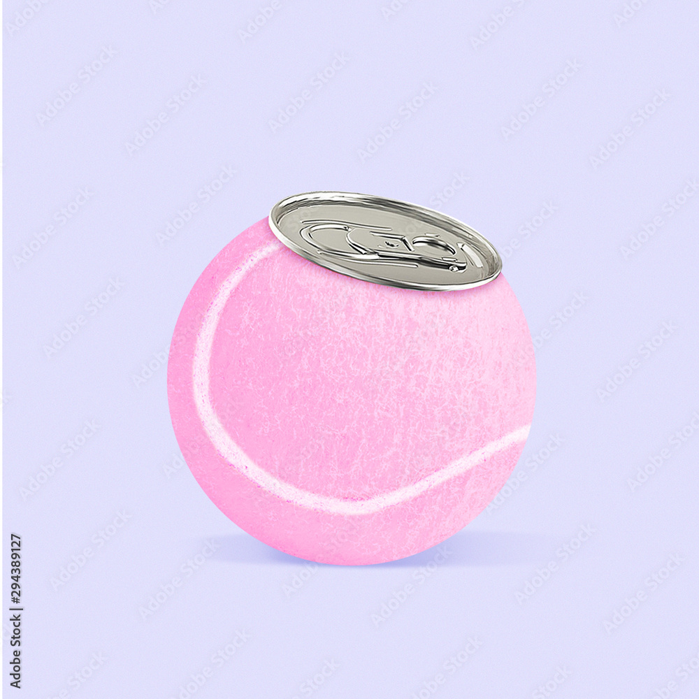 Fototapety, obrazy: An alternative taste. Pink tennis ball as a can for drink on purple background. Negative space to insert your text. Modern design. Contemporary colorful and conceptual bright art collage.