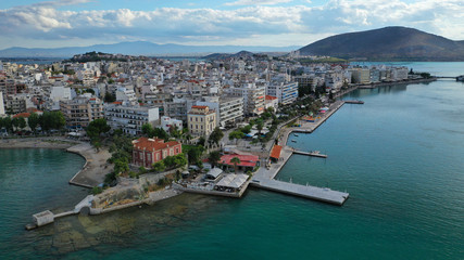 Fototapeta na wymiar Aerial photo of famous seaside town of Halkida with beautiful clouds and deep blue sky, Evia island, Greece