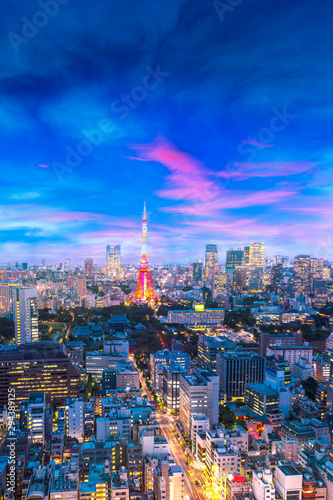 Cityscape of Tokyo, city aerial skyscraper view of office building and downtown and street of  minato in tokyo with sunset / sun rise background Wallpaper Mural
