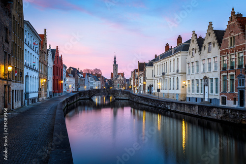 Wall Murals Bridges Sunset in the most tourist places of Bruges, Belgium