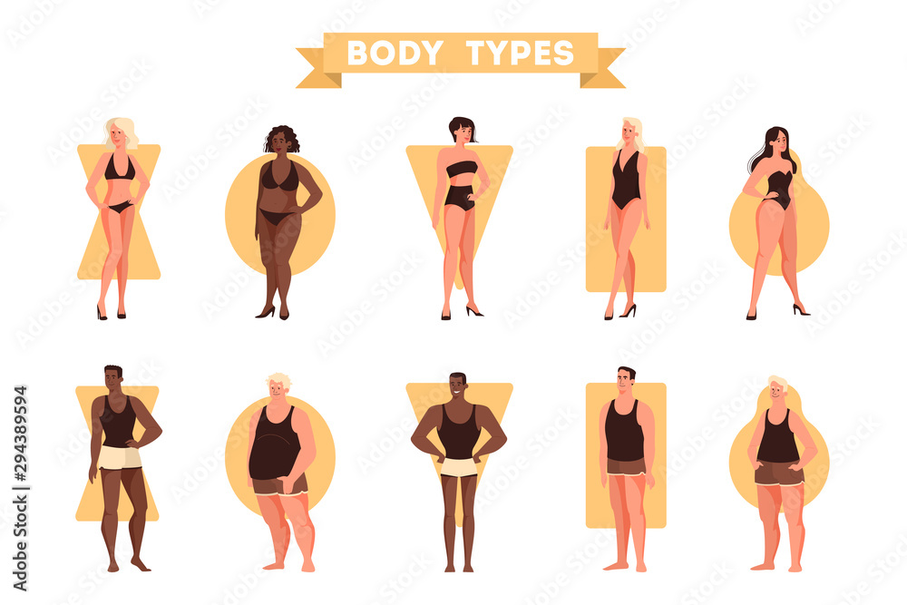 Fototapeta Male and female body shapes set. Triangle and rectangle