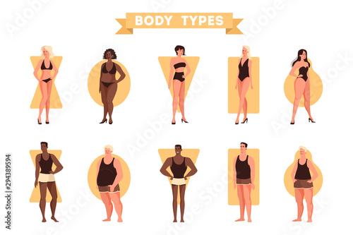 Obraz Male and female body shapes set. Triangle and rectangle - fototapety do salonu