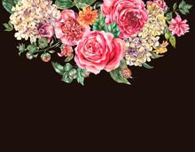 Watercolor Vintage Floral Bouq...