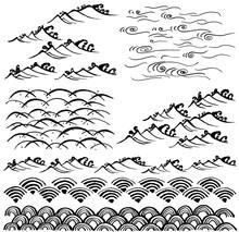 波 和風波 手書きイラスト