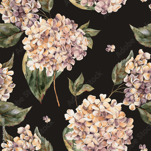 Leinwandbilder - Watercolor Vintage Floral Seamless Pattern with Blooming White Hydrangea, Watercolor botanical natural texture.