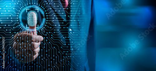 Fototapeta Fingerprint scan provides security access with biometrics identification
