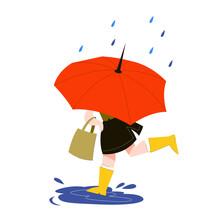 Woman Behind The Umbrella Runn...