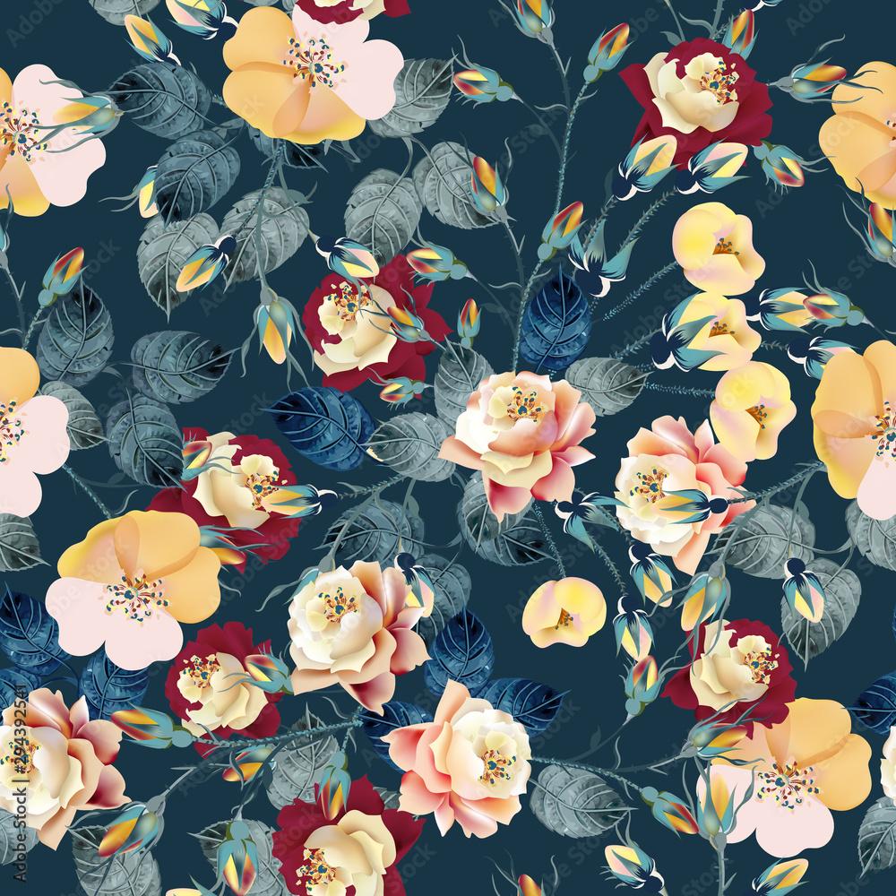 Fototapeta Elegant flower vector rose pattern in classic vintage style for design