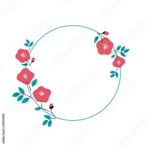 Fotomural Red camellia flowers frame illustration